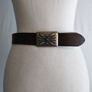 Gap brown leather belt Boho Blue Stone Southwest